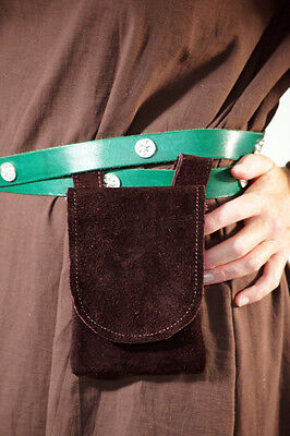 Medieval/Larp/SCA/Pagan/Merchant/Archer Leather BROWN Hang from Belt POUCH-BAG