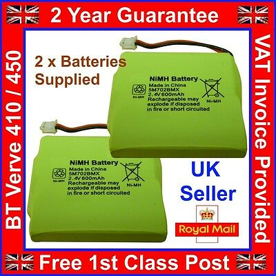 Pack of 2 New BT Verve 410 450 Twin Phone Batteries Nimh 2.4v 600mah 2 Yr Gtee