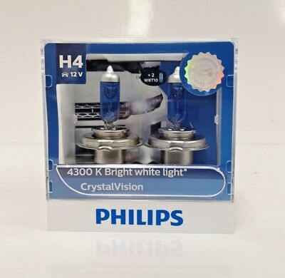Philips H4 Crystal Vision 4300K White Halogen Bulb with Free T10 Parking Lights
