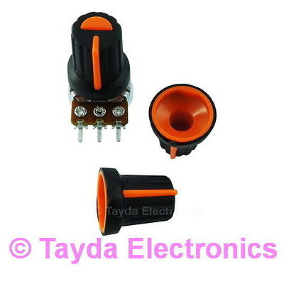 2 x Black Plastic Knob with Orange Pointer Soft Touch High Quality FREE SHIPPING