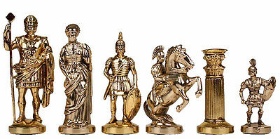 Manopoulos Large Romans Chess Set - Brass&Nickel