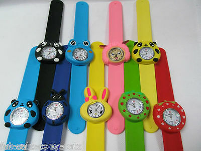 1xKIDS SLAP ON SNAP BAND ANIMAL FISH GIRLS BOYS SILICONE RUBBER BAND WRIST WATCH