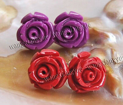 2Pairs 12mm Red /Purple Sea Coral Hand Carved Flower Earrings Silver Stud AAA