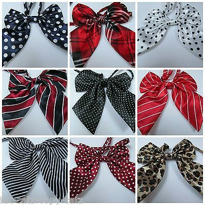 Ladies Fashion Satin Style Bow Neck Tie Cravat 15+ Colours Party Fancy Dress Uk