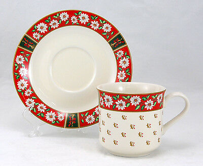 Kobe CHARLTON HALL Flat Cup and Saucer Set 3.125 in. White Poinsettias Red Rim
