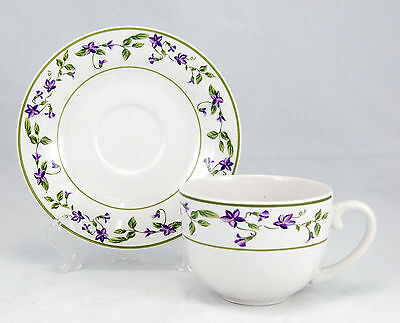 Martha Stewart Everyday MTW33 Flat Cup and Saucer Set 3 in. MSE Purple Flowers