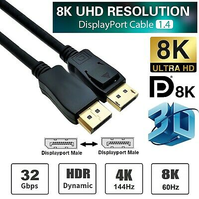 2m DisplayPort Display Port to DP Cable Gold Plated Male to Male 4K Resolution
