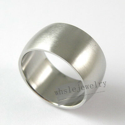 Wholesale Lots 24pcs 316L Stainless Steel Cambered Matt Rings 12mm Wide