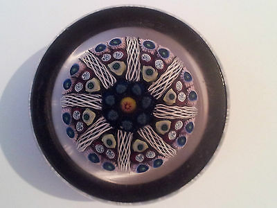 Vintage Millefiori & Ribbon Twist Flat Topped Paperweight - Quality