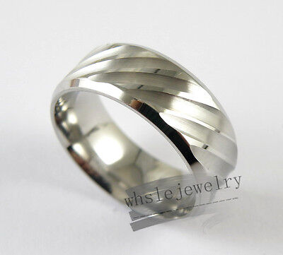 Wholesale 12pcs Mens 316L Stainless Steel 8mm Inner Arcuate Style Band Rings