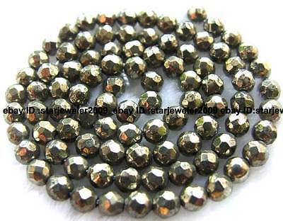 """4mm round faceted pyrite Gemstone loose Beads 16"""""""