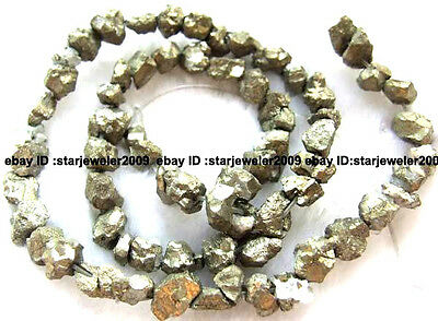 7-9mm Rought Baroque freedom pyrite Gemstone Beads 15""