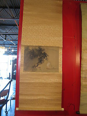 Antique Signed / Marked Japanese Scroll Painting of  a Man on a Boat
