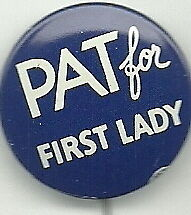 Pat Nixon For First Lady 1960 Pin
