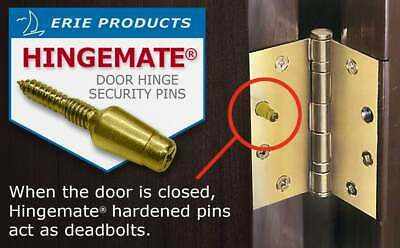 Hingemate  Door Security Pins, 3 Pack Kit  Commercial * Residential * Schools
