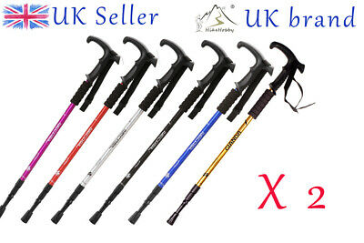 2 x Antishock Trekking Walking Hiking Pair Stick Pole