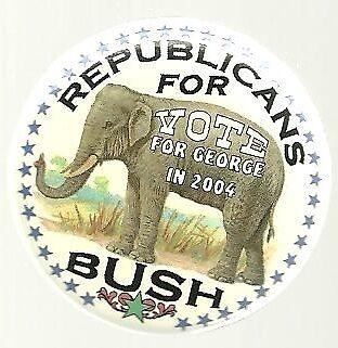 Republicans For George Bush 2004 Colorful Elephant Pin
