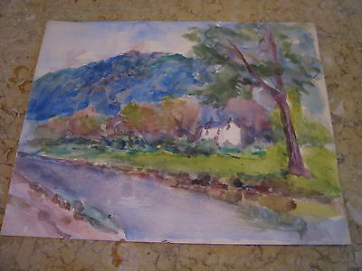 Vintage Antique Early 20th Century E A Trego Watercolor Painting of Landscape