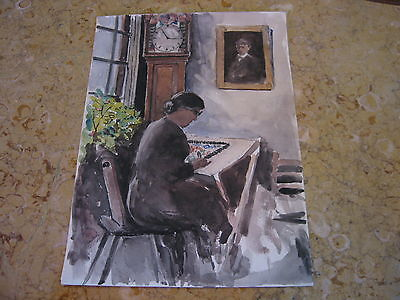Vtg Antique Early 20th Cent. E A Trego Watercolor Painting of Woman Drawing