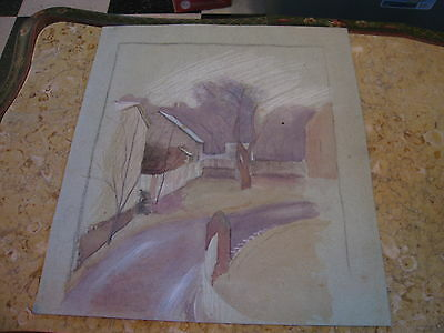Vtg Antique Early 20th Cent. E A Trego Watercolor Painting & Pastel of Street