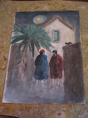 Vtg Antique Early 20th Cent. E A Trego Watercolor Painting & Pastel Men Talking