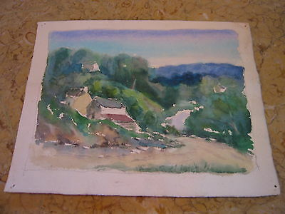 Vtg Antique Early 20th Cent. E A Trego Double Sided Watercolor Painting & Pastel