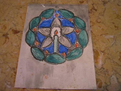 Vtg Antique Early 20th Cent. E A Trego Watercolor Painting & Pastel of Wreath