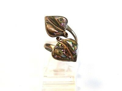 Vintage Signed ICC Mexican Sterling Silver & Abalone Leaf Ring Size 4