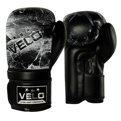 VELO Boxing Gloves MMA Fight Sparring Pads Punch Bag Training Muay Thai Black