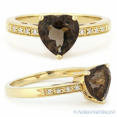 1.23ct Heart-Shape Smoky Topaz Round Cut Diamond Right Hand Ring 14k Yellow Gold