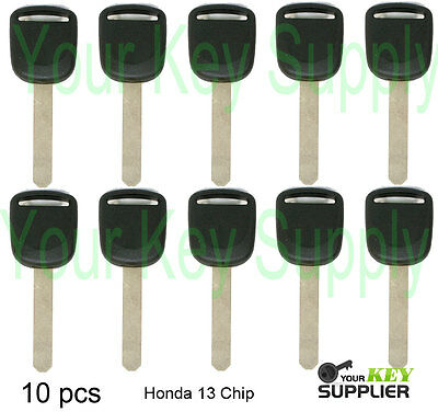 (10) New Honda Acura Transponder Chip Ignition Key - Uncut Replacement 13 Chip
