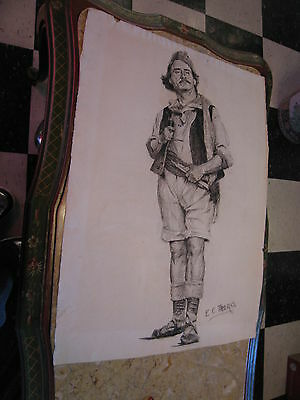 Vtg Antique Early 20th Cent Edward Comly Trego Charcoal Drawing Man w/ Pipe