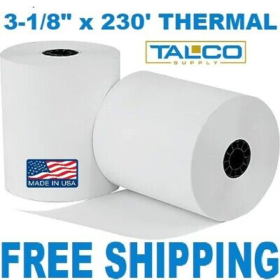 "3-1/8"" x 230' THERMAL PoS RECEIPT PAPER - 12 NEW ROLLS  ** FREE SHIPPING **"