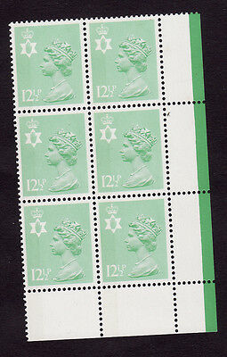 N136a...12.5p Green  side band perf 15x14  RARE BLOCK OF 6 ..cat £32+