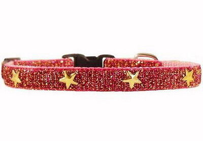 * HANDMADE * PINK & GOLD SPARKLE GOLD STARS CAT~KITTEN SAFETY COLLAR with BELL