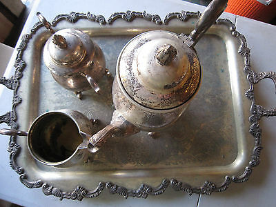 Vintage 5-pc SHERIDAN SILVER CO. Silver On Copper Tea / Coffee Set! Needs polish