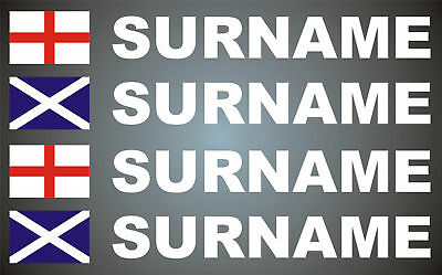 4x England Scotland Union Jack Flag & Name Rally Motorsport Graphics Stickers