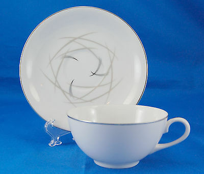 Sango MARDI GRAS 6503 Flat Cup and Saucer Set 1.875 in. Taupe Lines Platinum