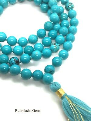 Turquoise 108 + 1 Premium Quality Beads Japa Mala Hindu Yoga Prayer Mediation