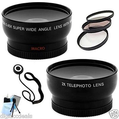 58mm .45x Wide Angle 2x Telephoto Lens+Adapter Tube+Filter Kit Canon G7 and G9