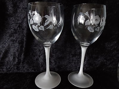 Avon ~ (2) HUMMINGBIRD ~ 24% Full Lead ~ CRYSTAL GOBLETS ~Used 3x or less~W/ BOX