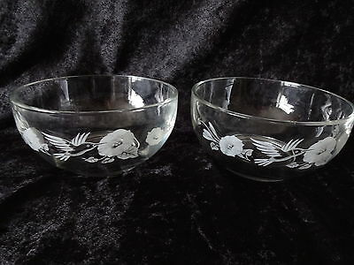 Avon ~ (2) HUMMINGBIRD ~ 24% Full Lead ~ CRYSTAL DESSERT BOWLS ~ Used 5x or less
