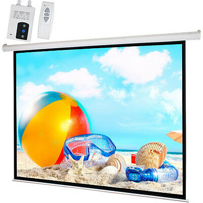 "100"" 4:3 Motorized Electric Projection Screen Auto Projector 80""x60"" Matte White"