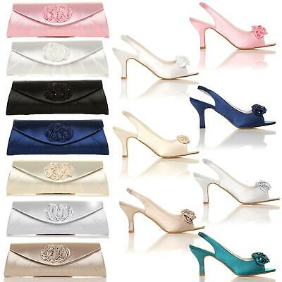 New Womens Satin Diamante Bridal Prom Party Bridesmaid Sandals Shoes Size 3-8