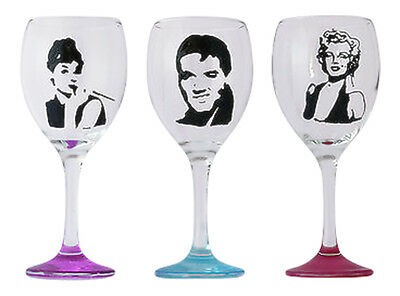 Elvis, Marilyn Monroe, Audrey Hepburn Hand Painted Celebrity Wine Glass Gift Uk