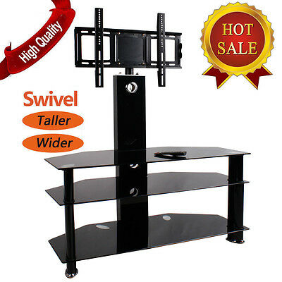 "Cantilever Glass TV Stand with Bracket 30""-60"" 55"" Inch Black for Plasma LCD LED"