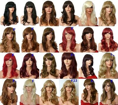 Real Natural Long Curly Wavy Brown highlight Blonde Women Fashion Ladies WIG F