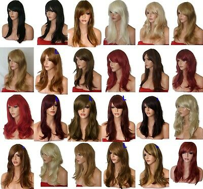 Real Natural Long Curly Wavy Red Blonde Black Plum Women Fashion Ladies WIG L
