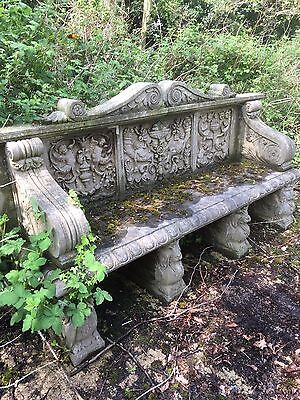 Hand Carved Solid Stone Bench , Very carved Old Stone Bench
