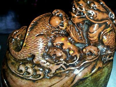 100%Natural Hand make-china Vintge shoushan stone Dragon seal N R 90x80x40mm